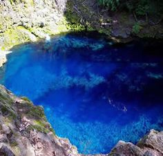 Blue Pool, Clear Lake Oregon - The McKenzie river resurfaces at the Blue Pool after traveling for some distance underground. The pool is the same color as this picture depicts. It's worth the hike!