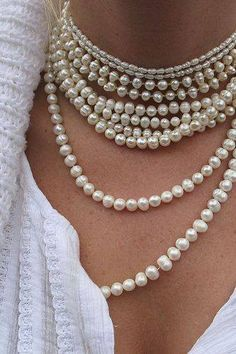 Freshwater cultured pearls have such a wide price range so there really is something (or a lot of things) for everyone.  Shown here are inexpensive pieces but have been fearlessly layered with exquisite success!