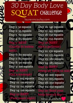 Take on the 30 Day Body Love Body Love Squat Challenge ... move your body with love always <3 For more Body Love go to http://laurenmcaulay.com/2016/03/08/30-day-body-love-squat-challenge/