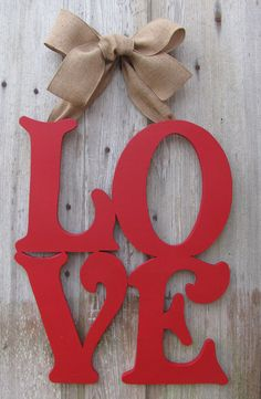 LOVE Valentine's Day Door Decor / Wooden Letter by VintageShore, $60.00