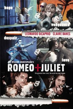Romeo + Juliet with by Leonardo DiCaprio & Claire Danes by Baz Luhrmann Claire Danes, Romeo And Juliet Poster, Juliet Movie, Leonardo Dicaprio Romeo, William Shakespeare, See Movie, Movie Tv, Cd Shop, Soundtrack