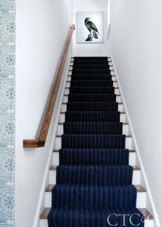 Another Victoria Pearson photograph hangs at the top of the stairs, which sport a runner in an Eakins indigo wool strie flatweave. Staircase Runner, Winding Staircase, House Staircase, Staircase Design, Stair Runners, Big Design, House Design, Victoria House, Traditional Staircase