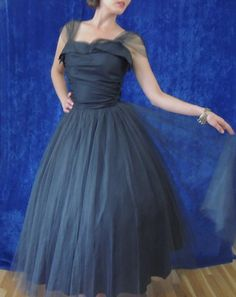 The LBD for Special Occasions. Black tulle 1950s prom dress.  Sheer tulle straps.  Full skirt.  So wearable.