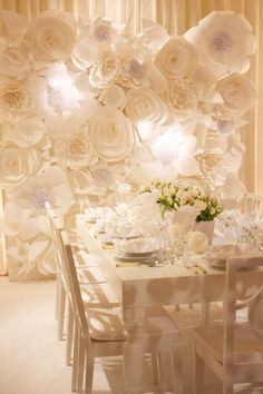 paper flower backdrop Paper Flower Wedding Ideas