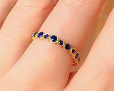 Sapphire Bubbles Bezel Set Eternity Band . Natural Blue | Etsy Sapphire Eternity Ring, Full Eternity Ring, Sapphire Band, Blue Sapphire Rings, Sapphire Gemstone, Eternity Bands, Pink Sapphire, Gemstone Jewelry, Jewelry Rings