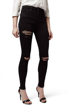 Topshop black distressed denim