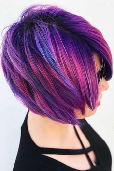 9b6d3015559dc Best Hairstyles   Haircuts for Women in 2017   2018   Beautiful short  purple hair styles. Purple hair color variations surprise us wit