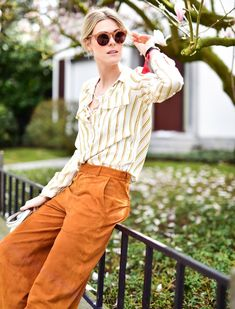striped shirt with suede pants