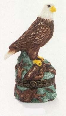 """Bald Eagle PHB Porcelain Hinged Box - Midwest of Cannon Falls Birds of Prey Series by PHB. $9.98. Expertly Crafted Brass Hinge Mechanism. Based on 17th Century France Limoge boxes. Fine Quality Porcelain. Bald Eagle PHB Hinged Box stands 2-3/4"""" tall. This trinket box is a PHB made by Midwest of Cannon Fallsfor the Bird of Prey series. This beautiful porcelain Limoges style treasurer box would make a wonderful gift. The history of the hinge box dates back to Lim..."""