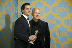 Matt Bomer (L) poses with his award for Best Supporting Actor The Normal Heart, John Ryan, Andie Macdowell, Babylon The Great, Ryan Murphy, Jada Pinkett Smith, Magic Mike, Best Supporting Actor, Elizabeth Banks