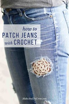 How to Patch Jeans with Crochet Lace 2019 Love this boho look! How to use crochet to patch holes in your denim jeans. Free crochet lace doily pattern too! The post How to Patch Jeans with Crochet Lace 2019 appeared first on Denim Diy. Mode Crochet, Crochet Gratis, Crochet Lace, Crochet Stitches, Lace Knitting, Crochet Doilies, Mandala Crochet, Tunisian Crochet, Crochet Afghans