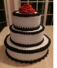 Crochet Wedding Keepsake Cake by HookCook on Etsy https://www.etsy.com/listing/246082384/crochet-wedding-keepsake-cake