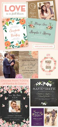 LOVE is in full bloom!  Find hundreds of floral themed Save the Date Cards in various themes and color options.