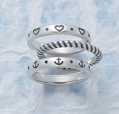 Amor Stacked Ring, Small Twisted Wire Ring (available in 14K gold and sterling silver) and Anchor of Hope Stacked Ring #JamesAvery