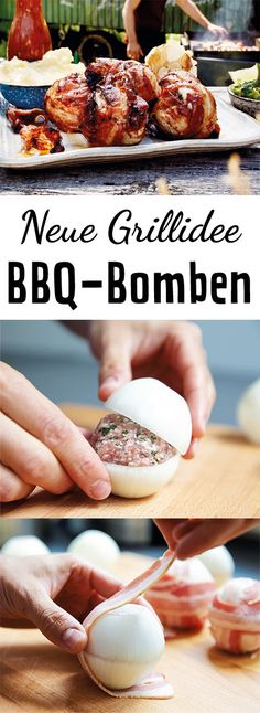 BBQ-Zwiebelbomben Meatballs wrapped with a fine Send bacon and onions – a delicious idea, perfect for our spit by Brunner. Barbecue Recipes, Grilling Recipes, Pork Recipes, Pizza Recipes, Snacks Recipes, Recipes Dinner, Dessert Recipes, Healthy Recipes, Receta Bbq