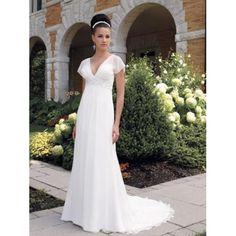 Empire Waist Cap Sleeves V-Neck Satin Chiffon A-Line Wedding Dresses
