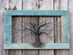 Wire Tree in an Empty Distressed Frame (Inspiration Only. No Pattern or Instructions.)