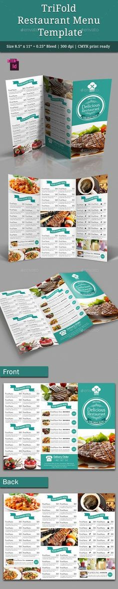 TriFold Restaurant Menu Template Vol. 4 — InDesign INDD #menu #food • Available here → https://graphicriver.net/item/trifold-restaurant-menu-template-vol-4/9566842?ref=pxcr