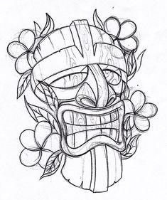 Tiki tattoo for kel Tattoo Studio, Tiki Maske, Tattoo Modern, Tattoo Drawings, Art Drawings, Tiki Tattoo, Tiki Head, Hawaiian Tiki, Hawaiian Tribal