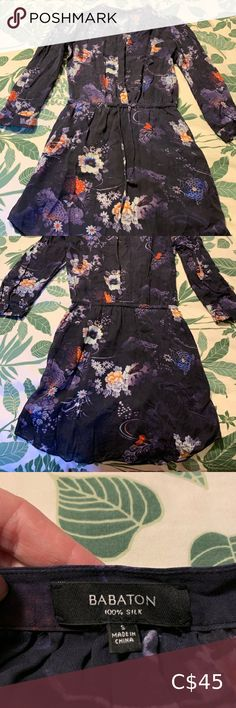 Babaton Bennett Dress Navy blue floral print Babaton Bennett dress!  Size small, 100% silk, great condition Mid-thigh length, 3/4 length sleeves Babaton Dresses Mini Plus Fashion, Fashion Tips, Fashion Trends, City Photo, Printer, Thighs, Dresser, Floral Prints, Sleeves