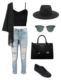 """""""Baee"""" by ariamitchellm ❤ liked on Polyvore featuring Boohoo, WearAll, MANGO, Keds, rag & bone, Ray-Ban and MICHAEL Michael Kors"""