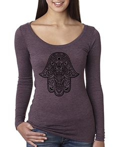 Elephant Hamsa  Black Design  Womens Fashion Scoop Long Sleeve Top Graphic Shirt Vintage Purple 2XL * Be sure to check out this awesome product-affiliate link. #Activewear