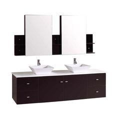 Kokols Rachiel 72 in. Double Vanity in Espresso with Phoenix Stone Vanity Top in White and Mirror