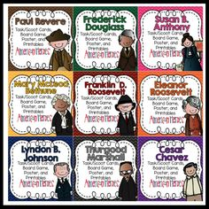 Georgia American Heroes Bundle - Activities for Paul Revere, Frederick Douglass, Susan B. Anthony, Mary McLoed Bethune, Franklin D. Roosevelt, Eleanor Roosevelt, Lyndon B. Johnson, Thurgood Marshall, and Cesar Chavez. Board game, reading passage, fact/opinion sort, and anchor chart for each person.