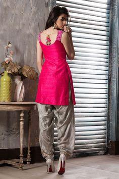 pink & grey color patiala suit
