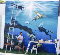 """Trabajando Mural """"Homenaje al buceo en Cozumel"""" Acrílico sobre pared"""