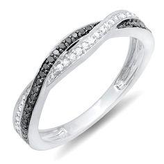 0.25 Carat (ctw) 10K White Gold Round Black & White Diamond Wedding Band Ring 1/4 CT (Size 7)