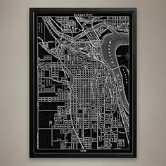 Kansas City Map Print, Home or office Decor. This map of Kansas City details the stockyards and history of 1889; these stockyards are no more than a memory after being carried away in the cascading waves of the Great Flood of 1951. Now you can travel back in time with this KC poster to take a closer look at the late 19th century structures, streets, and waterways. This map of Kansas City reminds the viewer that this populous place is more than just the home of barbeque, blues, and jazz…