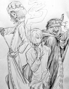 One Piece, Sanji, Brook, Pedro