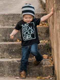 """Mr. Steal Your Girl Black Toddler Shirt Graphic Tee This """"Mr. Steal Your Girl"""" short sleeve toddler t shirt is sure to make any day brighter and have everyone asking you where you got this cute shirt."""