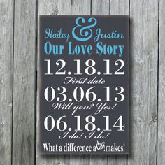 This is a custom made wood sign. It is painted with no vinyl on the sign. Perfect for Wedding, Anniversaries, Engagement,Bridal Important Dates Sign, Ampersand Sign, 50th Anniversary Gifts, Custom Wood Signs, Wedding Signs, Wedding Ideas, Personalized Wedding Gifts, Bridal Shower Gifts, Engagement Gifts