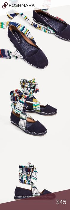 Zara Lace-Up Leather Espadrilles ZARA WOMEN NEW COLLECTION!!  SS17 LACE-UP LEATHER ESPADRILLES 1342/201/010  Navy blue flat leather shoes. Braided jute detail with contrasting color topstitching around the sole. Multicoloured lace-up fastening. Sole height 1.0″  UPPER- 100% goat leather //LINING-100% polyurethane //SOLE- 100% styrene butadiene rubber // SLIPSOLE 55% polyester, 45% jute  Available in: EU Size 38 / US Size 7.5  Brand new with tags and dustbag. Zara Shoes Espadrilles