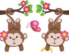 Hanging monkey mural decal wall art for baby girl jungle animal nursery or children's safari zoo room decor. Two girl monkeys hanging from flowered branches Nursery Decals, Baby Nursery Decor, Girl Nursery, Nursery Room, Room Baby, Bedroom Kids, Room Stickers, Kids Stickers, Sticker Paper