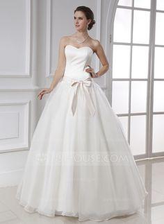 Ball-Gown Sweetheart Floor-Length Satin Organza Wedding Dress With Sash Bow(s) (002015478)