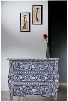 blue and white pearl inlay dresser - Google Search