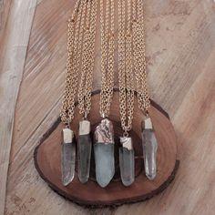 Celadonita punto collar / collar de piedras preciosas / minerales collar / minerales colgante de Piedra Natural / colgante lindo Indie Hippi...