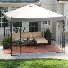 If you're looking for something with a little more modern elegance, this gazebo might be the perfect choice. Its sturdy metal construction and angular looks support a broad canopy that will protect a lot of space from the weather. Pergola Diy, Backyard Gazebo, Small Pergola, Pergola Garden, Deck With Pergola, Pergola Shade, Patio Roof, Pergola Plans, Backyard Landscaping