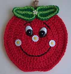 Ideas Crochet Coasters Apple Hot Pads For 2019 Crochet Hot Pads, Cute Crochet, Crochet Motif, Crochet Doilies, Crochet Flowers, Crochet Baby, Knit Crochet, Crochet Patterns, Crochet Ideas
