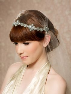 Silver Crystal Juliet Cap Veil Vintage Inspired Tulle Veil, Juliet Veil, Rhinestones, Swarovski Crystals, Art Deco - Made to Order - FIONA by GildedShadows on Etsy https://www.etsy.com/au/listing/150939587/silver-crystal-juliet-cap-veil-vintage