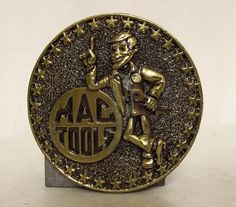 Vintage Mac Tools Belt Buckle  Round Stars by honeyblossomstudio