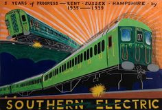 Feat of engineering: C Ward's poster for Southern Electric celebrates the train itself as well as the destinations it visits