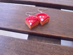 "polymer clay ""cake"" earrings, handmade in red and yellow,"
