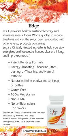 Get Energized. Think Sharp.* Plexus EDGE is your solution to your personal energy crisis. EDGE provides healthy, sustained energy and increases mental focus.* Get yours here: https://shopmyplexus.com/connieaunger/products/nutrition/plexus-edge/index.html *These statements have not been evaluated by the Food and Drug Administration. This product is not intended to diagnose, treat, cure, or prevent any disease.