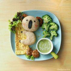 Lee Samantha's food-art - I give top-Koality hugs you know   Ingredients  1. Koala  - Onigiri (riceball) - Meat patty (ears) - Nori (seaweed) - Cheese   - created 27 February 2014