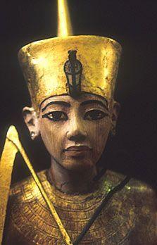 A gilded statuette of Tutahknamon form his tomb.
