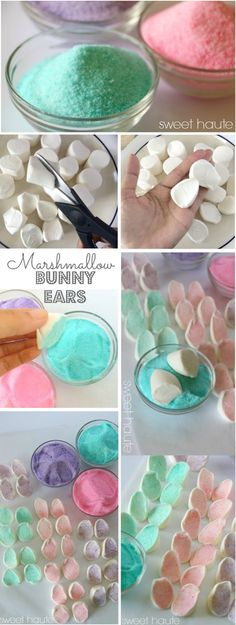 Marshmallow Bunny Ears pastel spring party ideas cupcake toppers- SWEET HAUTE